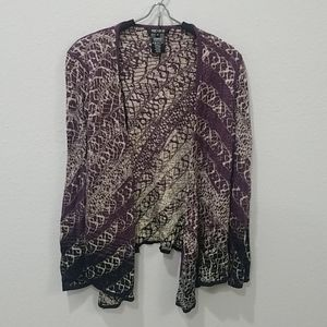 Nic + Zoe Purple Black Abstract Open Cardigan Sz M